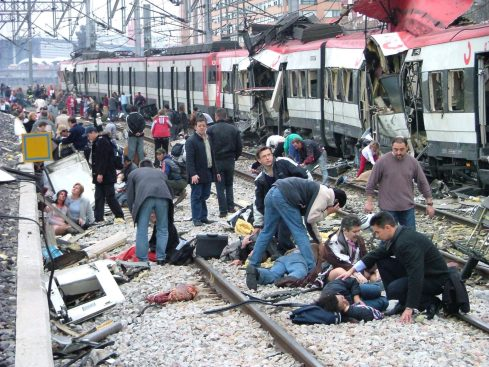 File photo shows victims of Madrid's train bombing following a bomb blast at Madrid's Atocha station